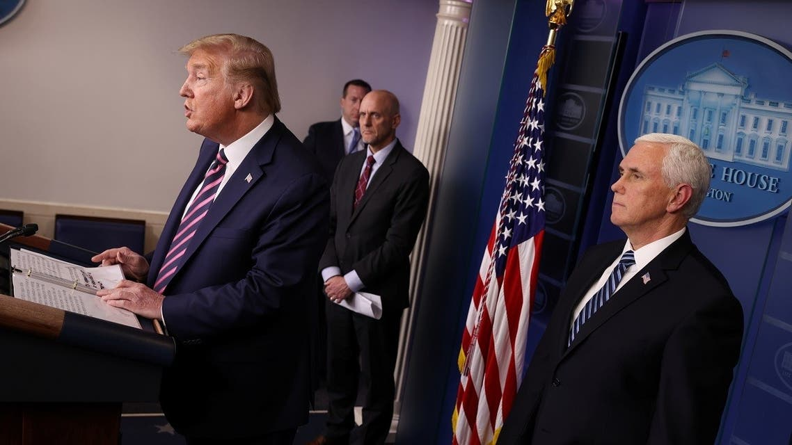 U.S. President Donald Trump leads the daily coronavirus task force briefing with Food and Drug Administration (FDA) Commissioner Dr. Stephen Hahn and Vice President Mike Pence at the White House. (Reuters)