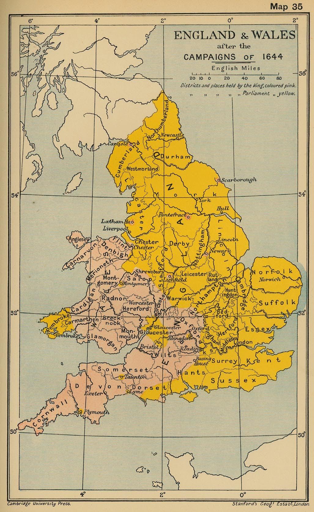 خريطة إنجلترا في حدود منتصف القرن 17