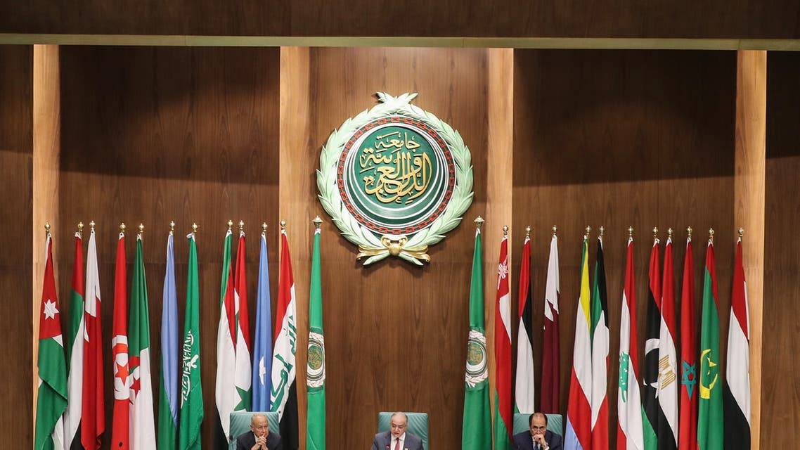 Secretary-General of the Arab League Ahmed Aboul Ghait, Iraqi Foreign Minister Mohammed Ali al-Hakim, and Assistant Secretary-General Ambassador Hossam Zaki attend the Arab Foreign Ministers' 153rd annual meeting at the Arab League headquarters in the Egyptian capital Cairo on March 4, 2020. (AFP)