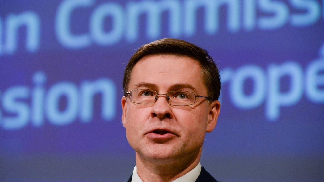 Executive Vice-President Valdis Dombrovskis presents the EU executive's economic response to the coronavirus epidemic, in Brussels, Belgium March 13, 2020.