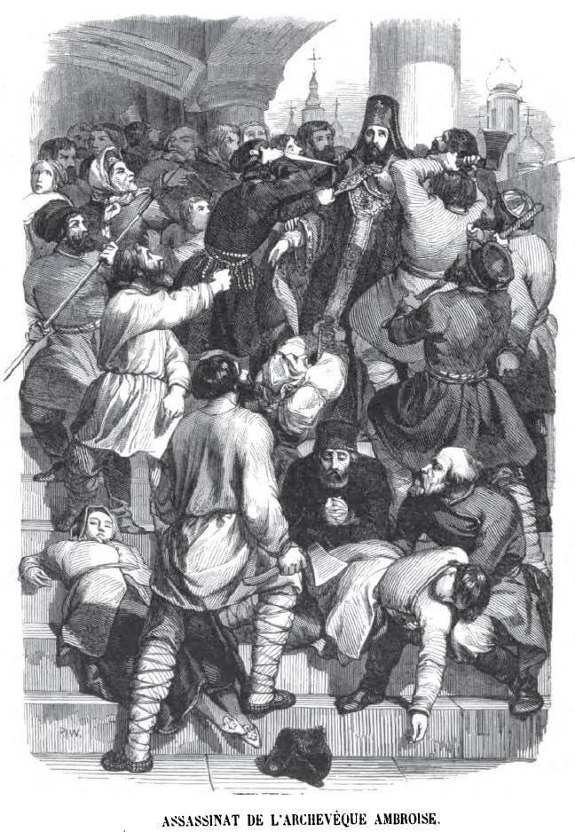 رسم تخيلي لعملية اغتيال رئيس الأساقفة أمبروز