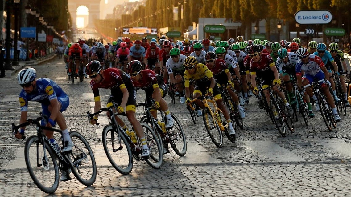 Team INEOS rider Egan Bernal of Colombia, wearing the overall leader's yellow jersey, in action in the peloton. (File photo: Reuters)