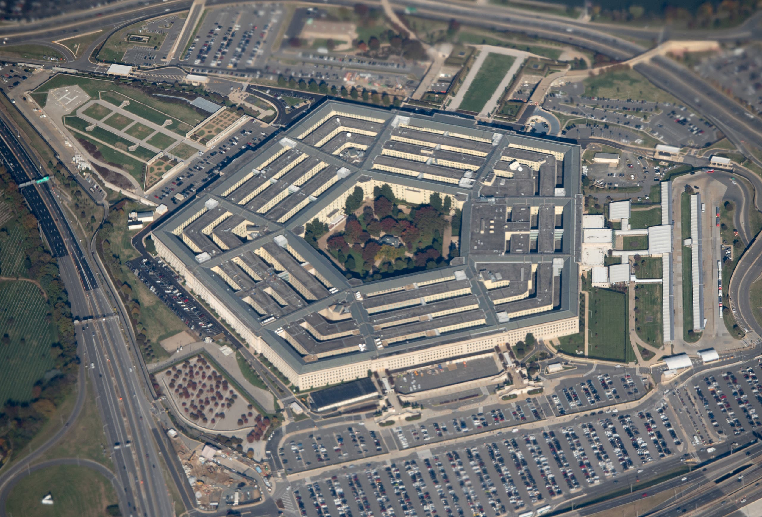 In this file photo taken on October 30, 2018 the Pentagon is seen from an airplane over Washington, DC. (AFP)