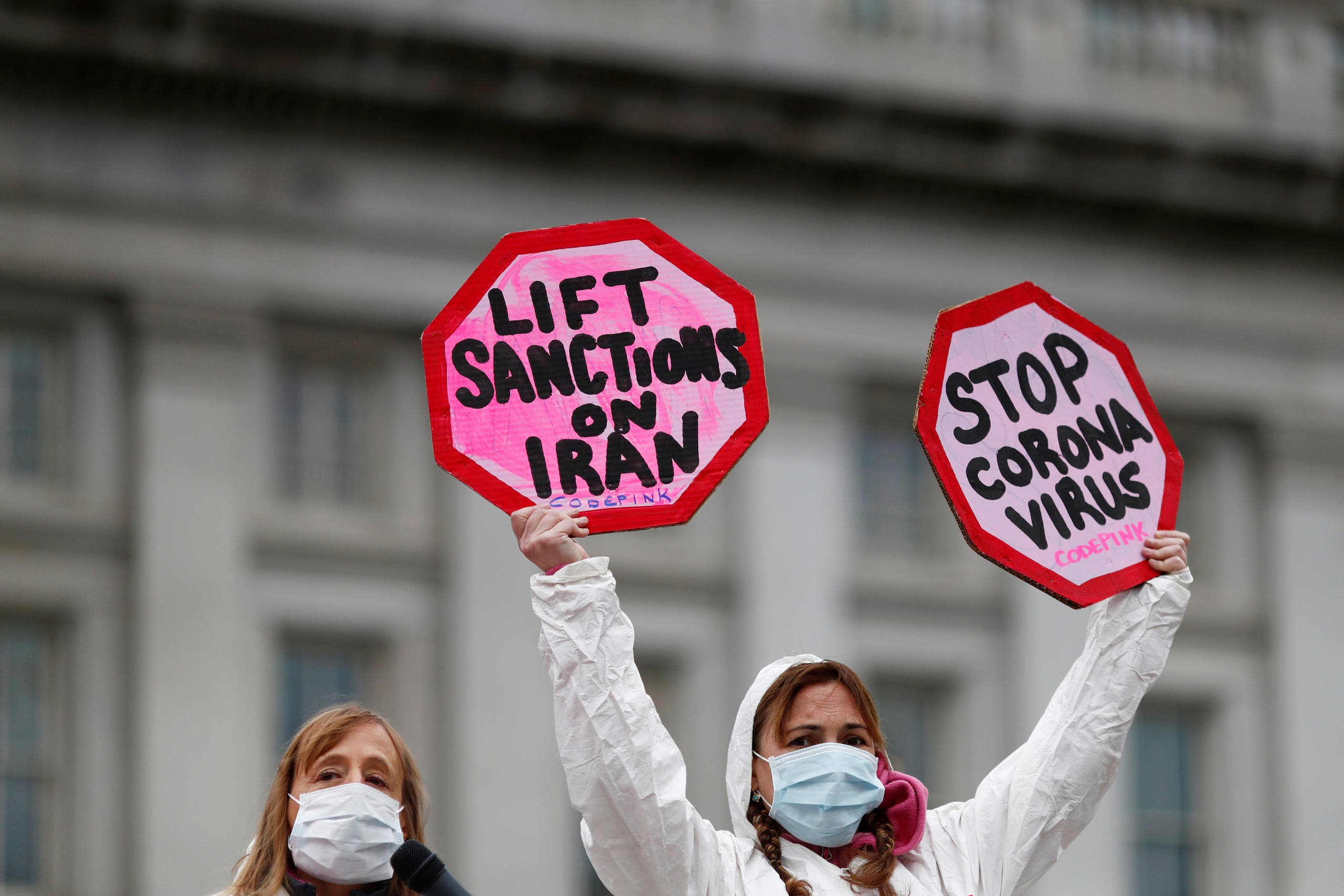 People attend a protest against the role that U.S. sanctions plays on Iran and the exacerbation of the coronavirus on March 11, 2020. (Reuters)