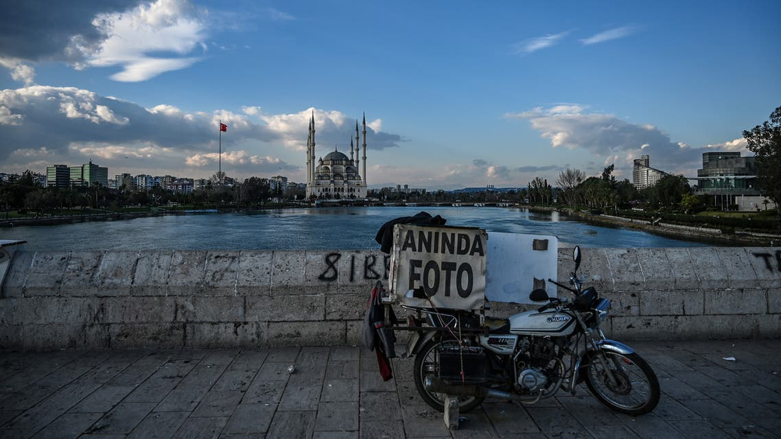 This picture taken on March 17, 2019, shows the Sabanci Mosque and the seyhan river in Adana, southern Turkey.
