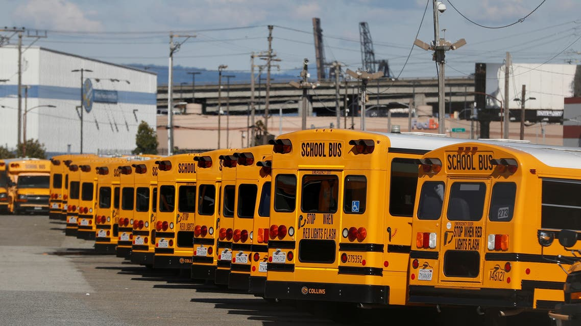 School buses are seen parked and unused as schools remain shut in San Francisco, California, US, April 7, 2020. (Reuters)