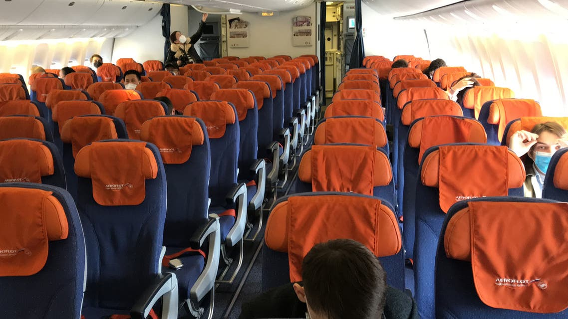 Empty seats on an Aeroflot plane about to depart from Beijing airport on a flight to Moscow on  March 21, 2020. (AFP)