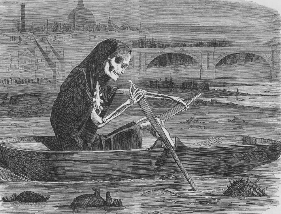 رسم كاريكاتيري ساخر لكارثة النتن الكبير بلندن