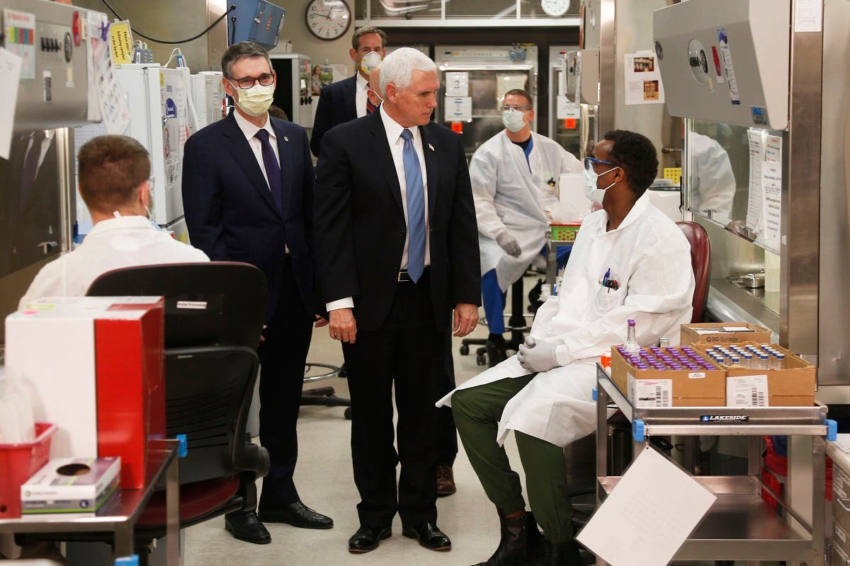Pence visits the molecular testing lab at Mayo Clinic on April 28, 2020, in Rochester, Minnesota. (AP)