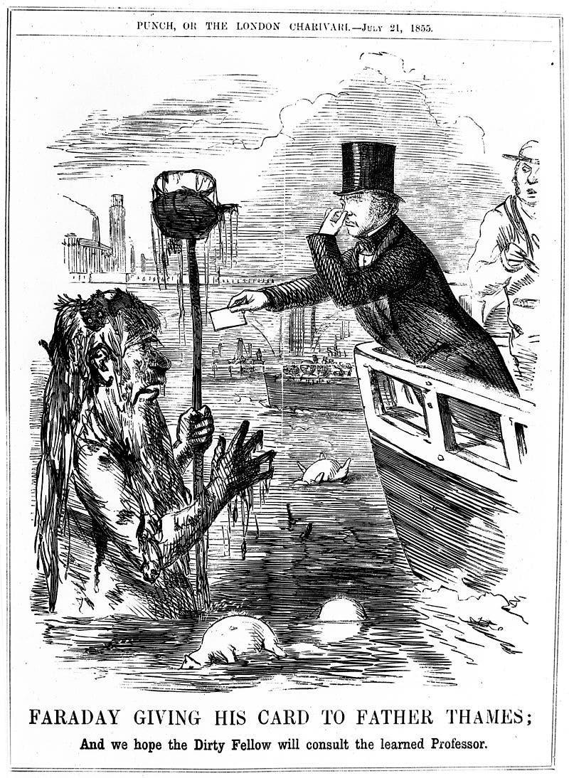 رسم ساخر يجسد تلوث نهر التيمز بلندن