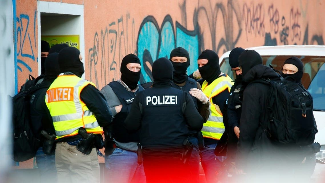 German special police gather near the El-Irschad (Al-Iraschad e.V.) center in Berlin, Germany, April 30, 2020, after Germany has banned Iran-backed Hezbollah on its soil and designated it a terrorist organization. (Reuters)