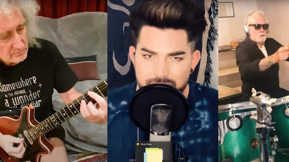Queen members Brian May, Roger Taylor and solo artist Adam Lambert in their respective homes recorded a spontaneous new version of Queen's classic anthem with some subtle changes. (Youtube)