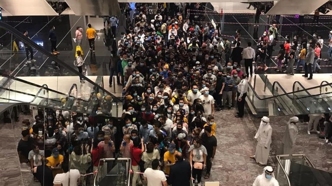 Social media users share picture showing packed crowds, saying it was taken in Abu Dhabi mall on April 29. (Twitter)