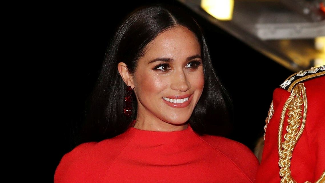 Britain's Prince Harry and Meghan, Duchess of Sussex arrive at the Royal Albert Hall in London, Saturday March 7, 2020, to attend the Mountbatten Festival of Music. (AP)