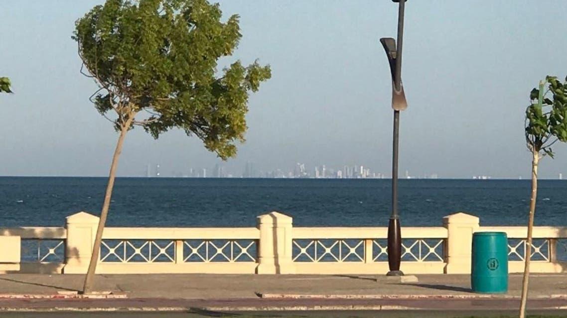 Bahrain's skyline seen from Al-Khobar's corniche in Saudi Arabia. (Twitter)