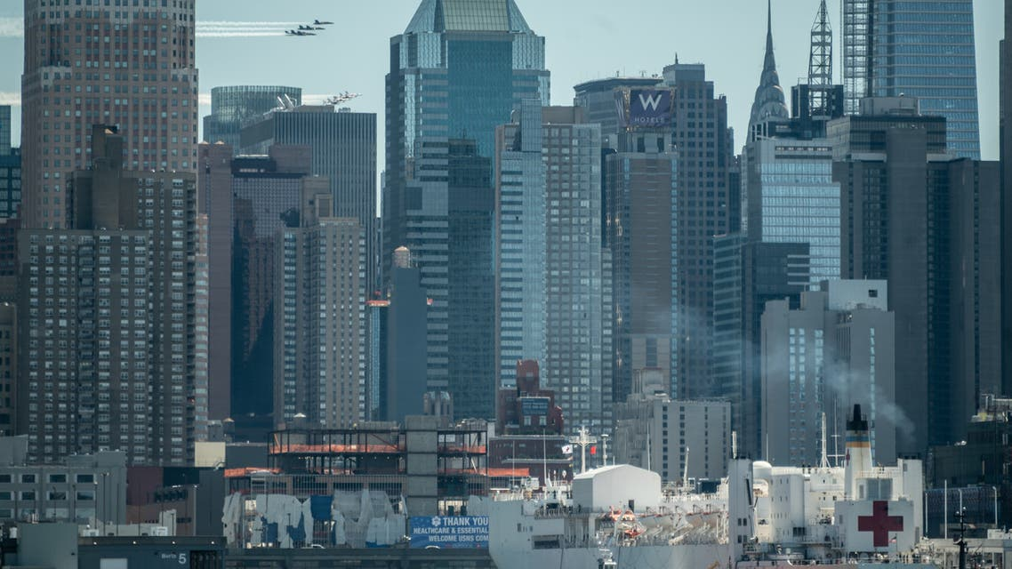The United States Navy Blue Angels and United States Air Force Thunderbirds fly over New York City to salute health care workers helping to fight the coronavirus on April 28, 2020. (AFP)