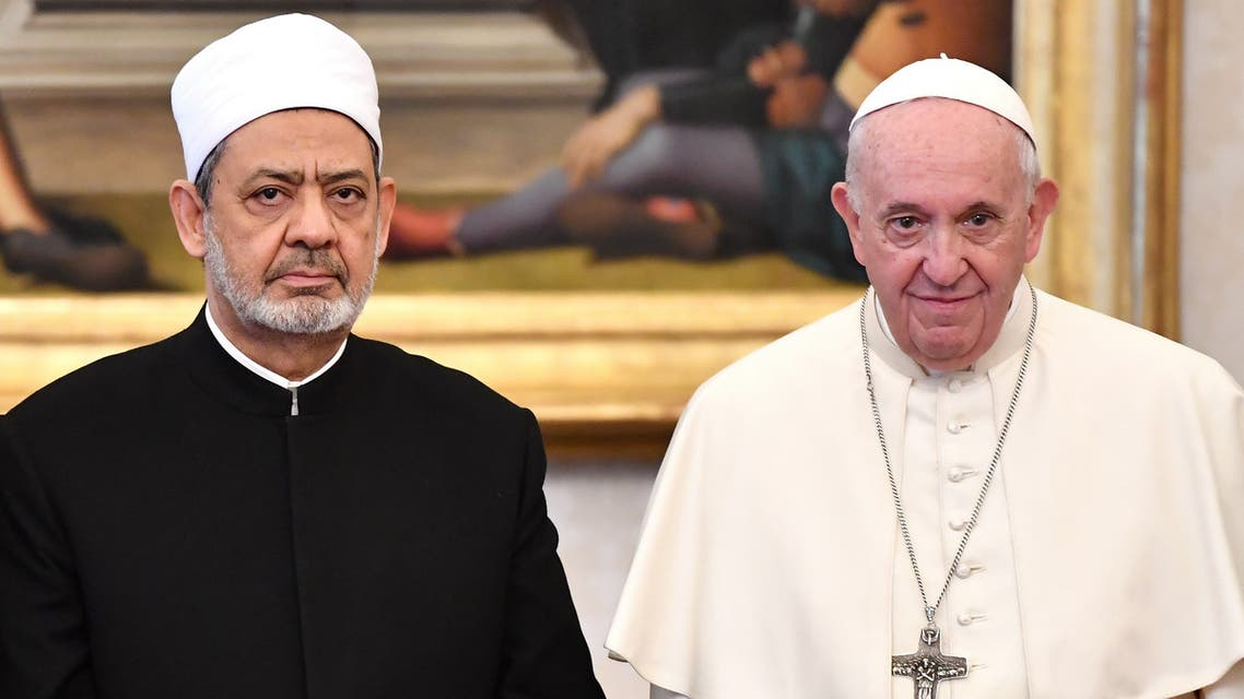 Pope Francis poses with Grand Imam Ahmed Al-Tayeb Sheikh of Al-Azhar during a private audience at the Vatican November 15, 2019. Alberto Pizzoli/Pool via REUTERS