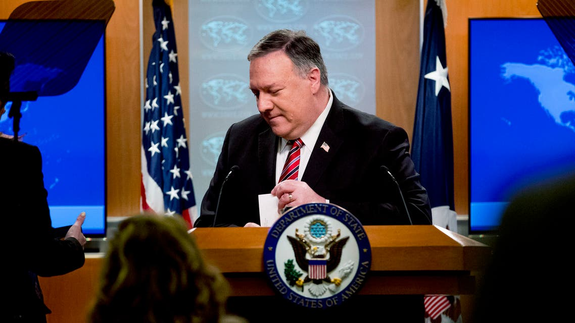 US Secretary of State Mike Pompeo pauses while speaking at a news conference at the State Department on April 29, 2020, in Washington,DC.