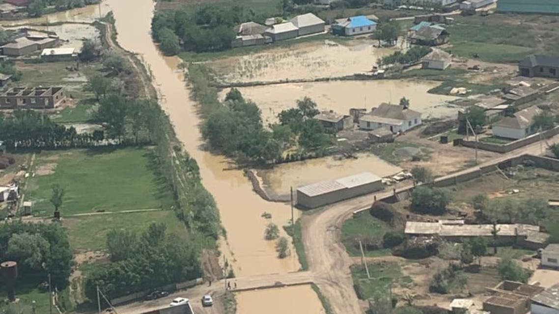 An aerial view shows the flooded area following the burst of a reservoir dam in the Syr Darya river basin in the southern Turkestan province, Kazakhstan in this handout photo released May 2, 2020. Committee for Emergency Situations of Ministry of Internal Affairs of Kazakhstan/Handout via REUTERS ATTENTION EDITORS - THIS IMAGE HAS BEEN SUPPLIED BY A THIRD PARTY. NO RESALES. NO ARCHIVES. MANDATORY CREDIT.