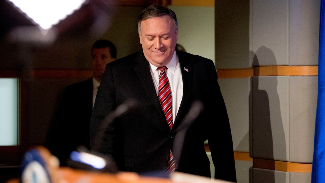 U.S. Secretary of State Mike Pompeo arrives for a news conference at the State Department, in Washington, U.S., April 29, 2020. Andrew Harnik/Pool via REUTERS