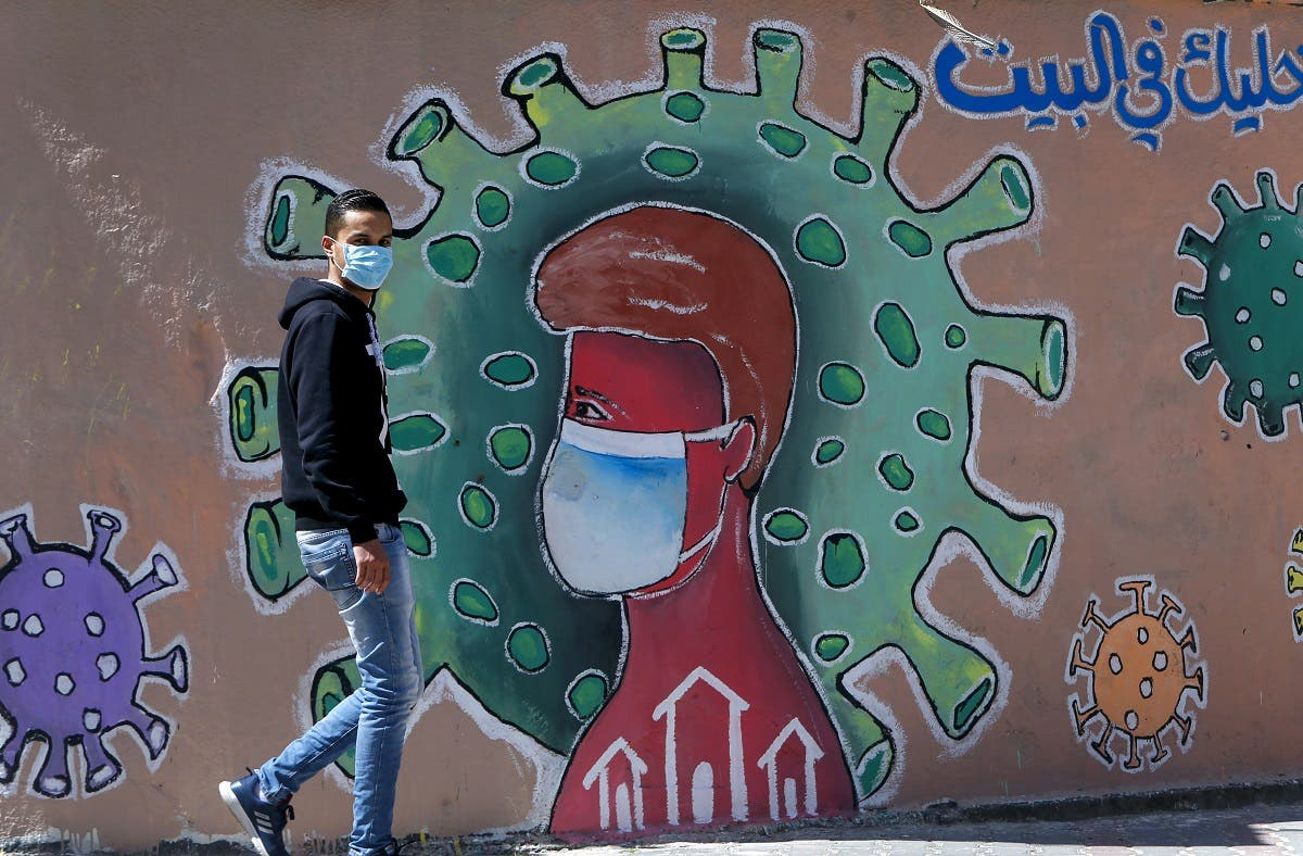 A Palestinians man wearing a face mask walks past a mural depicting the coronavirus COVID-19 coronavirus pandemic, in Gaza City. (File photo: AFP)