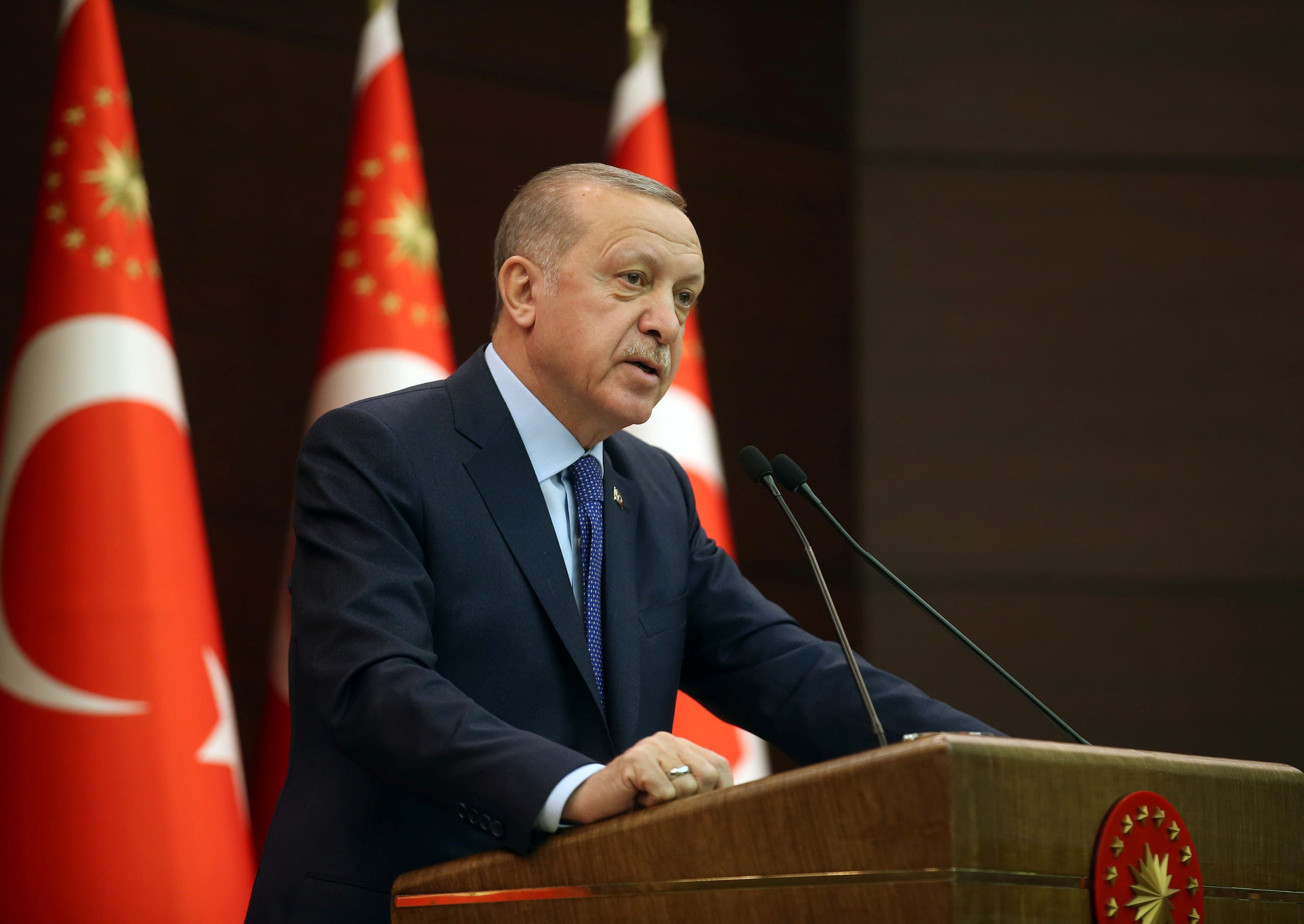 Turkish President Tayyip Erdogan talks during a news conference following a coronavirus disease (COVID-19) meeting in Ankara, Turkey, March 18, 2020. (File photo: Reuters)