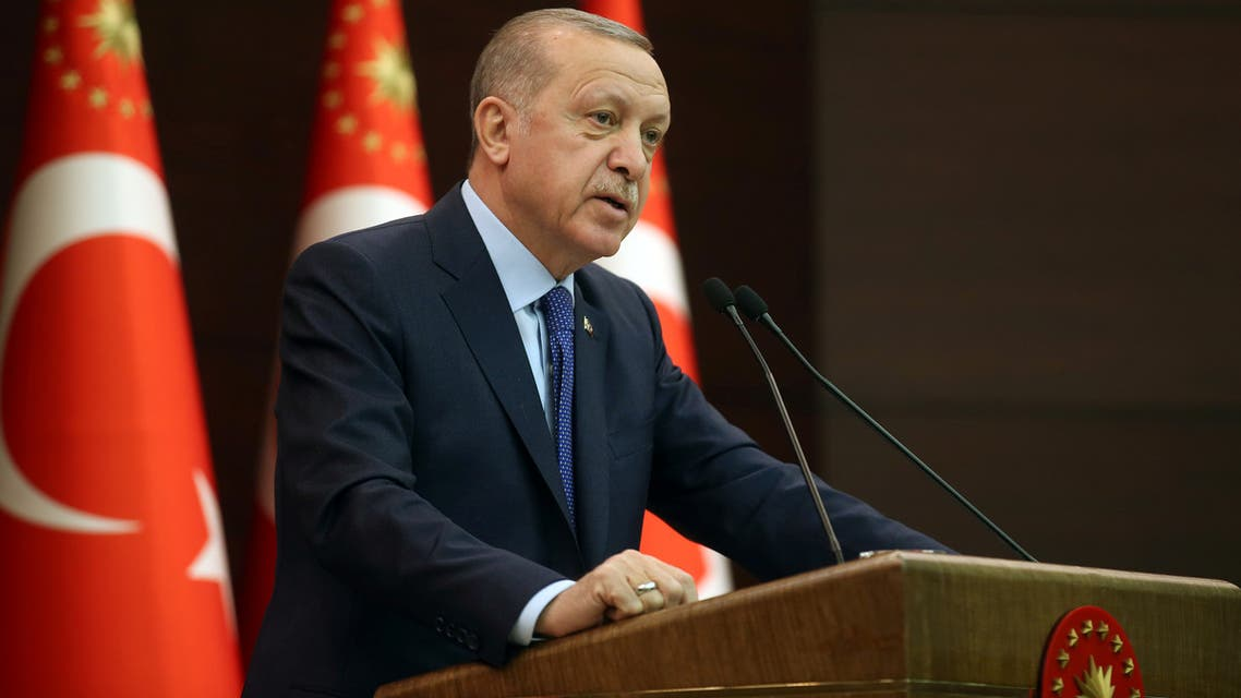 Turkish President Tayyip Erdogan talks during a news conference following a coronavirus disease (COVID-19) meeting in Ankara, Turkey, March 18, 2020. (Reuters)