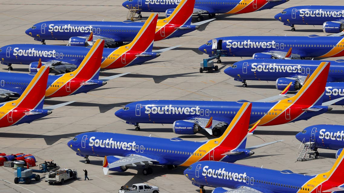 A number of grounded Southwest Airlines Boeing 737 MAX 8 aircraft are shown parked at Victorville Airport in Victorville, California. (Reuters)