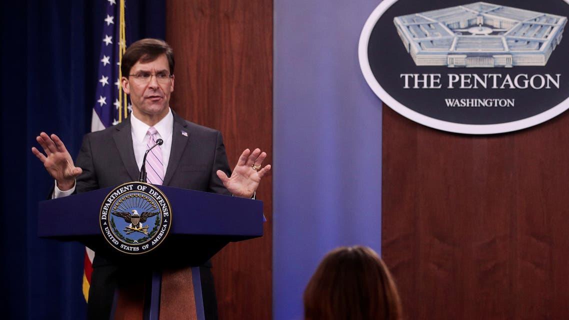 U.S. Defense Secretary Mark Esper takes questions during a news conference at the Pentagon in Arlington, Virginia, U.S., April 14, 2020. REUTERS/Jonathan Ernst