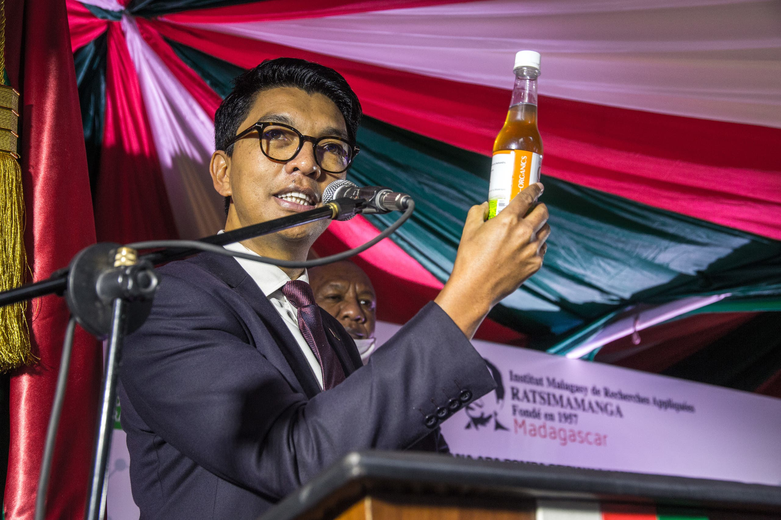 The President of Madagascar Andry Rajoelina attending a ceremony to launch Covid Organics, the country's 'cure' to the coronavirus. (File photo: AFP)