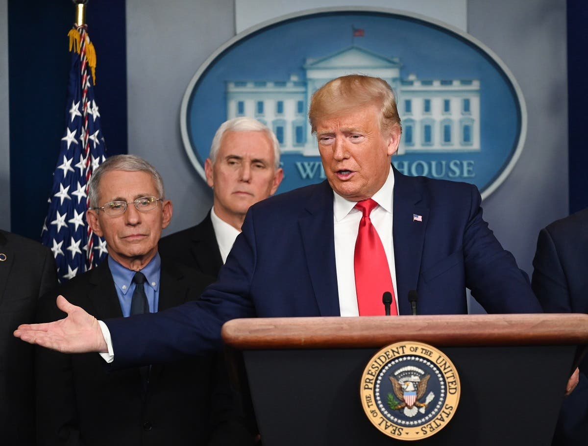 Trump during a press conference on the COVID-19, as Director of the National Institute of Allergy and Infectious Diseases at the National Institutes of Health Anthony Fauci (L) and VP Pence look on at the White House in Washington, DC on February 29, 2020. (AFP)