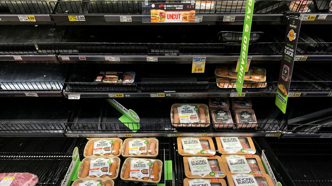 Meat products are displayed on grocery store shelves inside Kroger's Ralphs supermarket amid fears of the global growth of coronavirus cases, in Los Angeles, California, on March 15, 2020.  (Reuters)