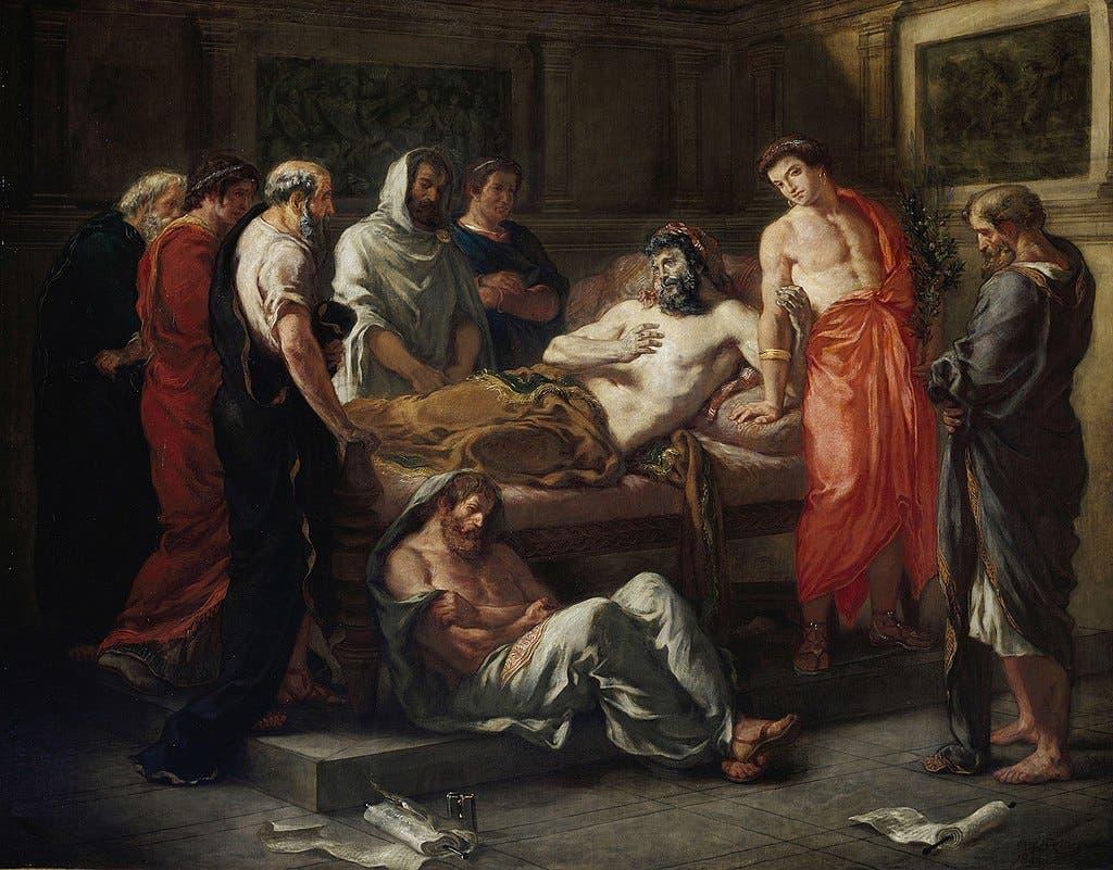 لوحة تجسد وفاة الإمبراطور لوسيوس فيروس
