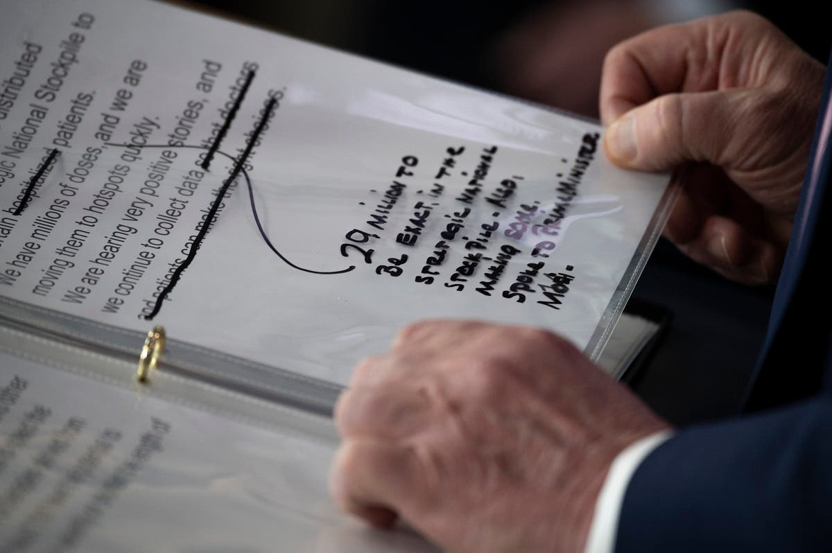 Notes are seen as President Trump speaks during the daily briefing on the novel coronavirus at the White House on April 4, 2020, in Washington, DC. (AFP)
