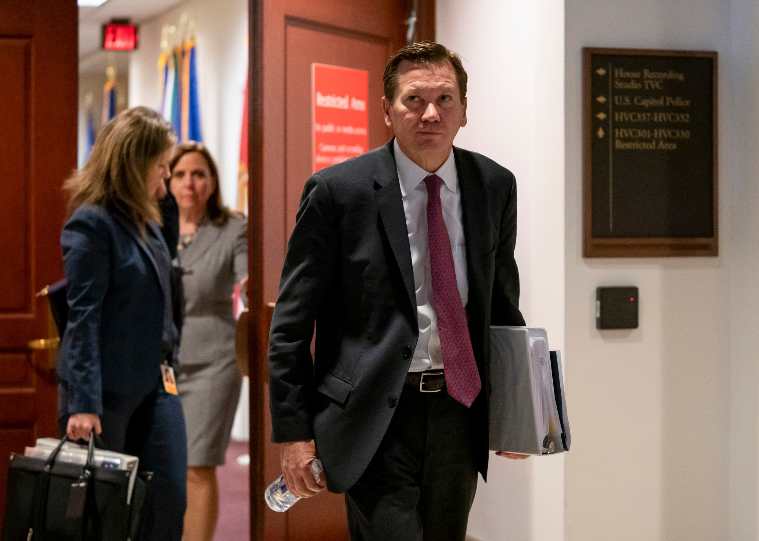 Michael Atkinson leaves a secure area in the Capitol after a day of questions about the whistleblower complaint that exposed a July phone call the Trump had with Ukrainian President Volodymyr Zelenskiy, on October 4, 2019. (AP)
