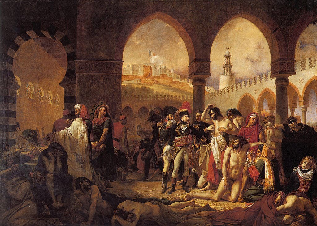 لوحة تجسد بونابرت أثناء تفقده للمصابين بالطاعون في يافا
