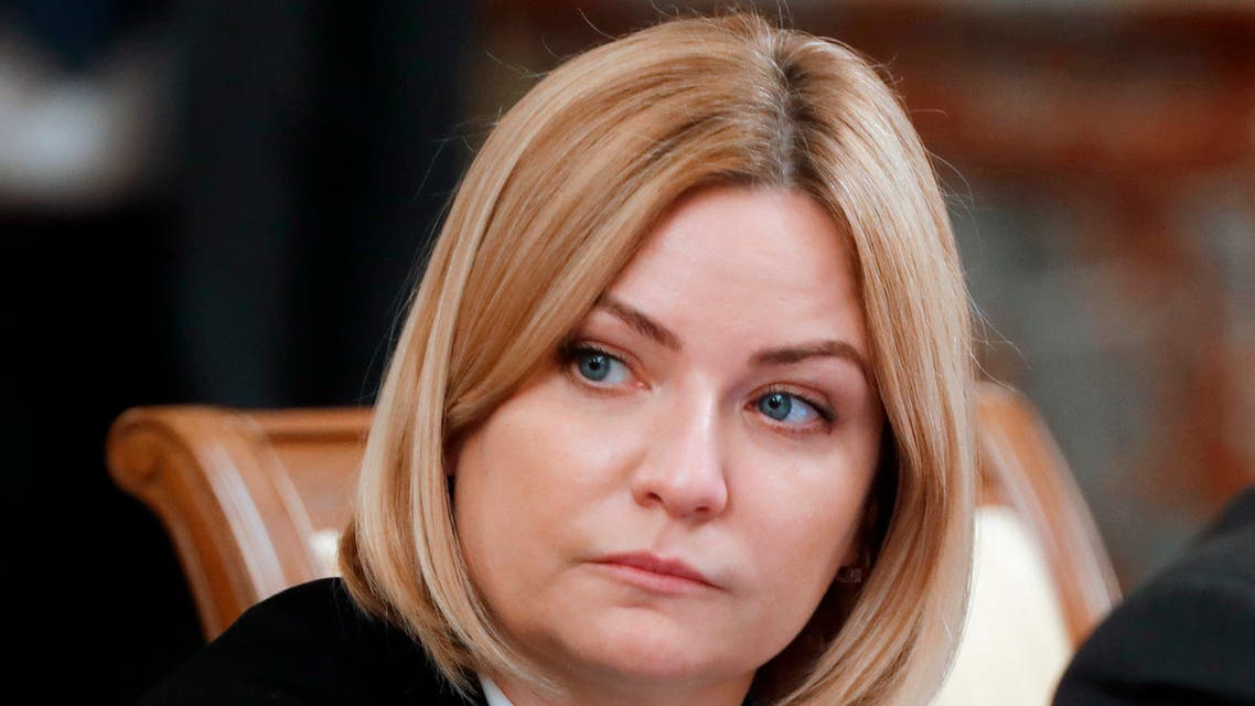 In this photo taken on Thursday, May 12, 2020, Russian Culture Minister Olga Lyubimova attends a new cabinet meeting in Moscow, Russia. (AP)