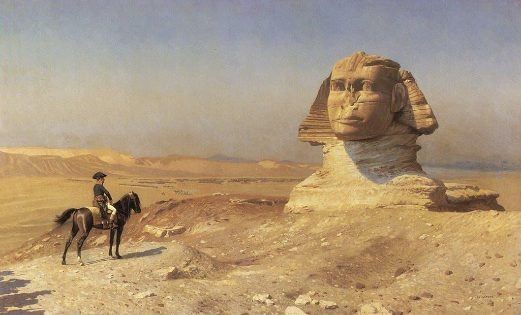 لوحة تجسد بونابرت أمام تمثال أبو الهول