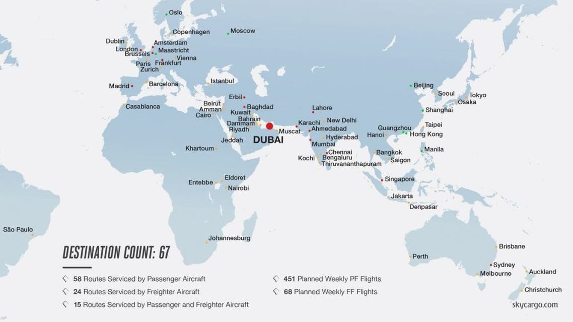 The network route of 67 cities Emirates SkyCargo is operating cargo flights to. (Emirates.com)