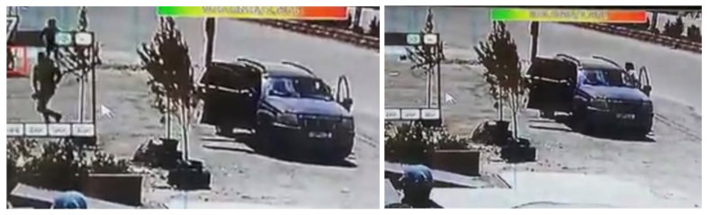 Left: Two men exit the passenger and back seat. Right: The driver rushes out and with a gun tucked in his waistband. (Screengrab.)