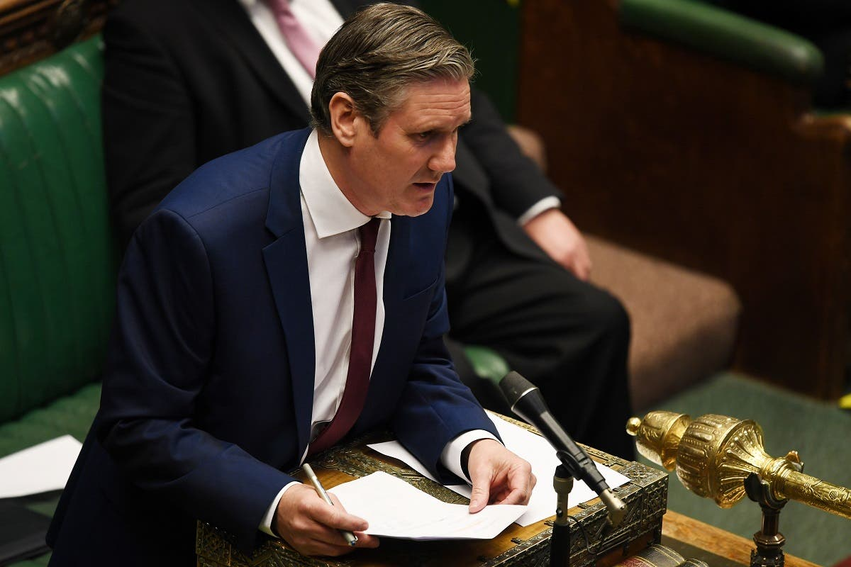 Britain's Labour Party leader Keir Starmer speaks during the weekly question time debate in Parliament in London, Britain May 6, 2020. (Reuters)