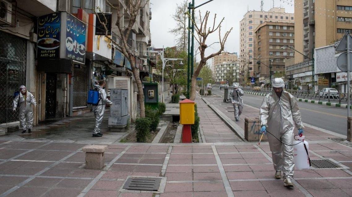 عمليات تطهير الشوارع في طهران كورونا إيران