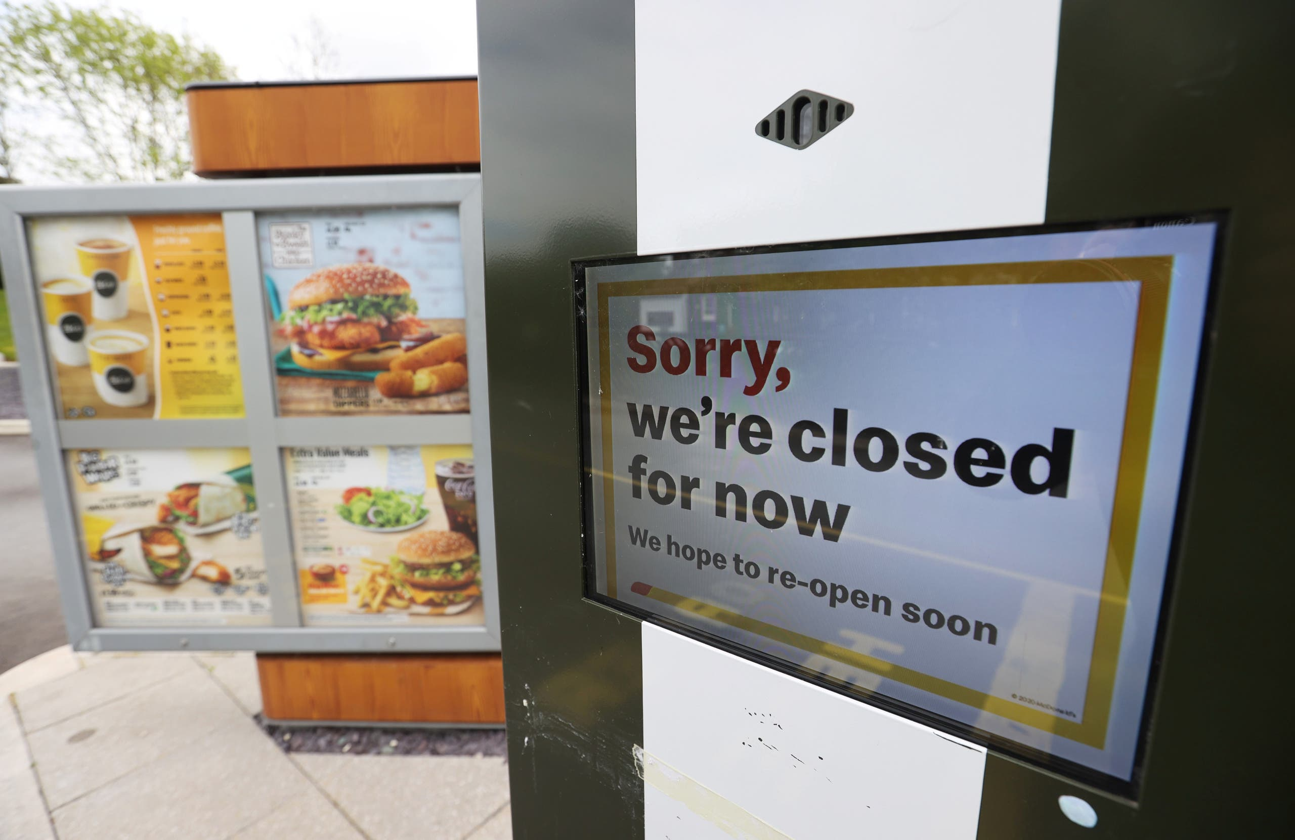 A closed sign is seen at a McDonald's restaurant in Congleton, following the outbreak of the coronavirus disease (COVID-19), Congleton, Britain, May 2, 2020. (Reuters)