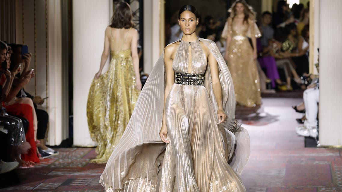 A model presents a creation by Zuhair Murad during the Women's Fall-Winter 2019/2020 Haute Couture collection fashion show in Paris, on July 3, 2019.