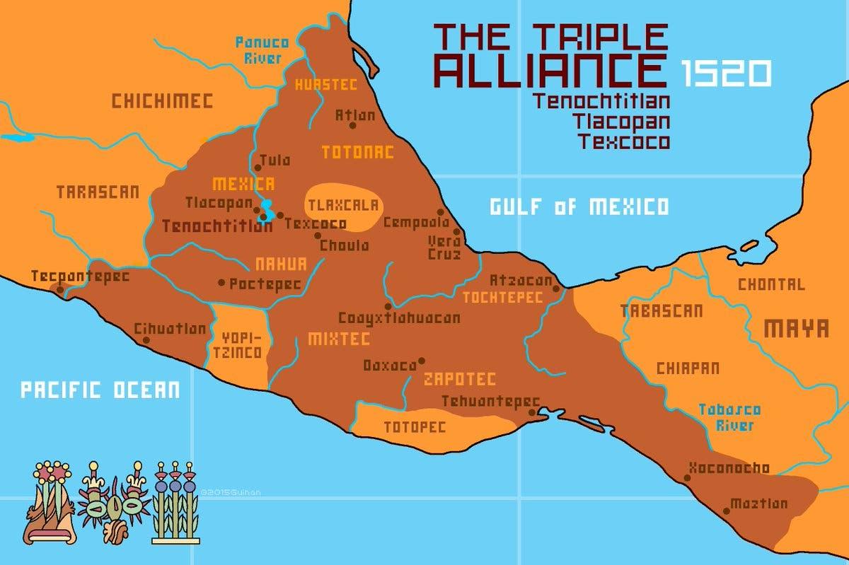 رسم تخيلي لخريطة تجسد مناطق نفوذ الأزتك