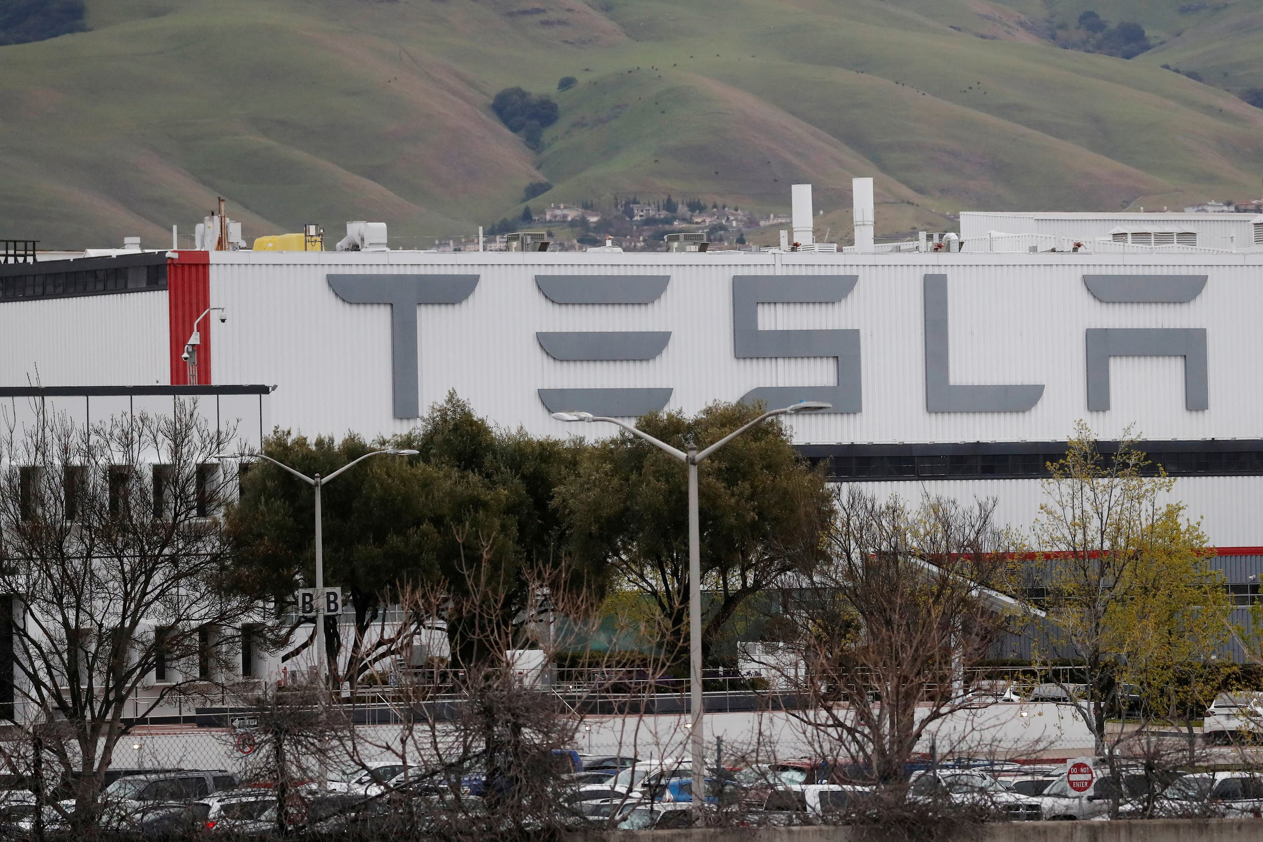 A view of Tesla's US vehicle factory in Fremont, California, on March 18, 2020. (Reuters)