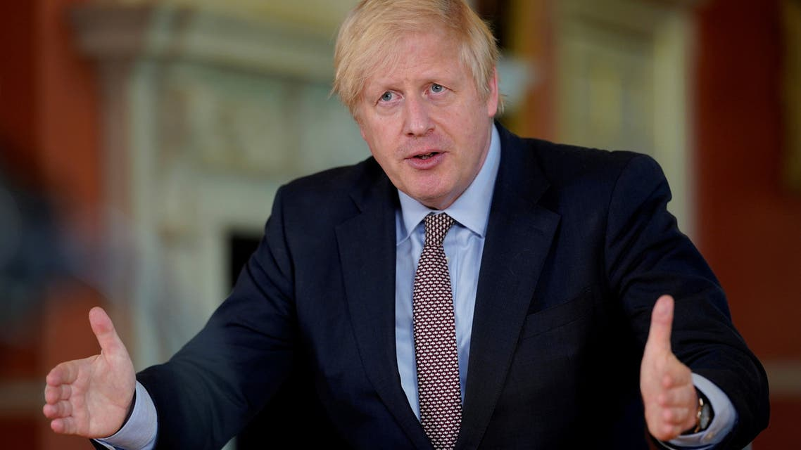 Britain's Prime Minister Boris Johnson speaks during filming of his address to the nation from No 10 Downing Street, on May 10, 2020. (Reuters)