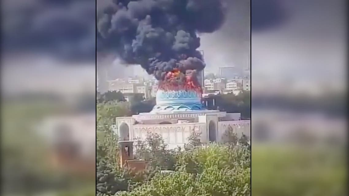 The dome of a mosque in Tehran belonging to the Iranian law enforcement force caught fire. (Screengrab)