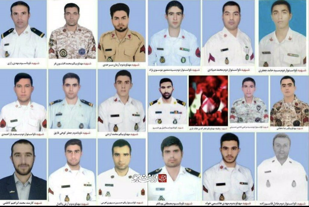 A combined image released by Iran's Press TV reportedly showing the 19 sailors who were killed int he incident. (Press TV, Twitter)
