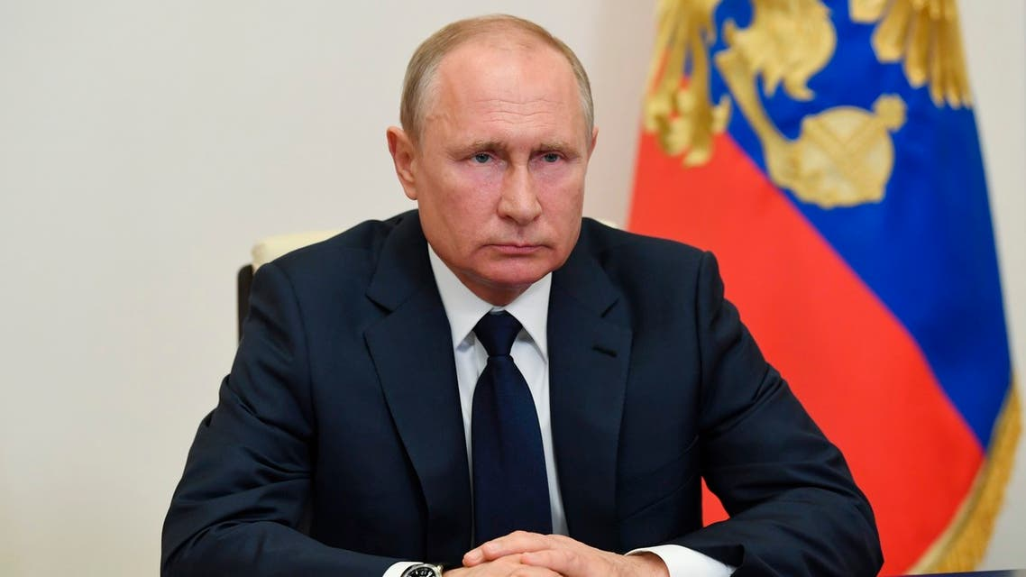 Russian President Vladimir Putin, addresses the nation via video conference on May 11, 2020. (AP)